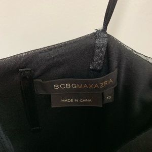BCBG Embroidered Tulle Black Midi Dress